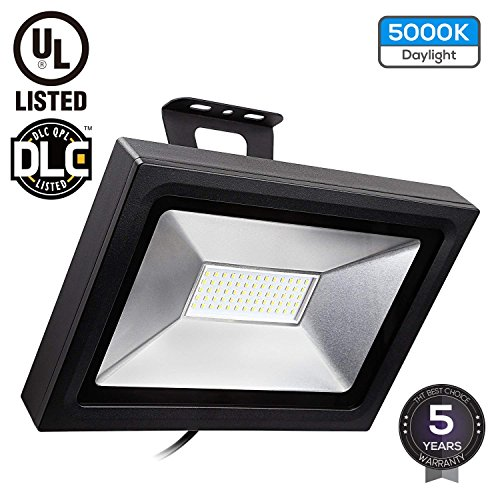 LED Flood Light, UL & DLC Listed, 50W (200W Equiv.), 5000lm Outdoor Landscape Security Lighting, Waterproof IP65 100-277V, Ultra-Bright Wall Washer, Die-cast Aluminum Housing, 5000K Daylight by LEONLITE