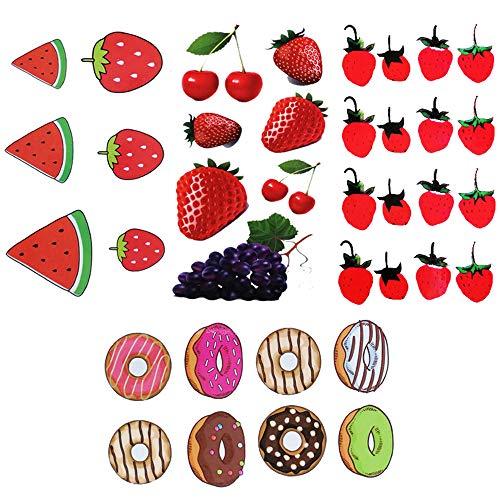 Yesallwas cute Fruit Temporary Tattoo for Women Body Kids 8 sheet Waterproof Art Fake Tattoo Stickers Assorted Red Strawberry Cherry Purple Grapes Tattoo