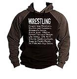 Interstate Apparel Men's Wrestling Moves Black/Charcoal Raglan Baseball Hoodie Sweater 3X-Large Black