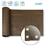 PATIO Deck Privacy Screen 3' x 25' Perfect for Outdoor,Backyard, Balcony,Pool,Porch,Railiing,Gardening,Fence Shield Rails Protection Brown-Custom