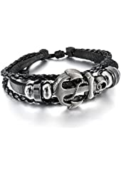 Men,Women's Alloy Genuine Leather Bracelet Bangle Cuff Cord Black Silver Tone Anchor Nautical Surfer Wrap Adjustable Fit 7~9 inch