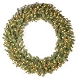 National Tree 60 Inch ''Feel Real'' Downswept Douglas Fir Wreath with 300 Warm White LED Lights (PEDD8-320L-60W)