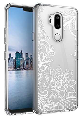 LG G7 ThinQ Case,LG G7 Case Huness TPU Grip Bumper and Clear Flower Transparent Hard PC Backplate Hybrid Slim Phone Case Cover for LG G7 ThinQ Phone(Flower)