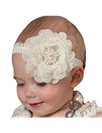 Miugle Baby Girl Flower Headband,Lace Headband,Newborn Headband,Baby Hair Bows