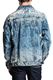 Victorious G-Style USA Men's Scribbled Text Motivational Street Font Distressed Denim Jacket - DK120 - Indigo - Large - II11H