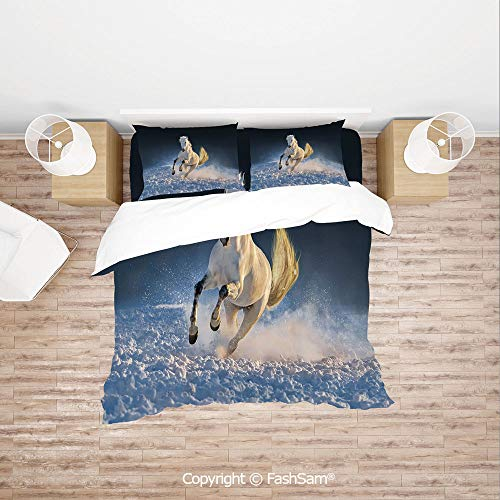 (FashSam Duvet Cover 4 Pcs Comforter Cover Set White Purebred Horse Galloping in Snow Land at Dreamy Sunset Decorative for Boys Grils Kids(Single) )
