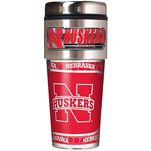NCAA Nebraska Cornhuskers Metallic Travel Tumbler,  16-Ounce ()