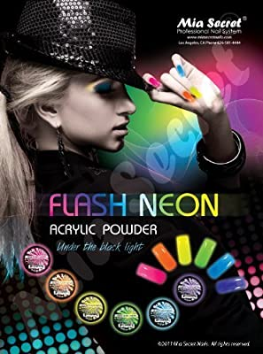 6 Mia Secret Flash Neon Acrylic Nail Art Powder Glows Under the Black Light 6 Neon Colors