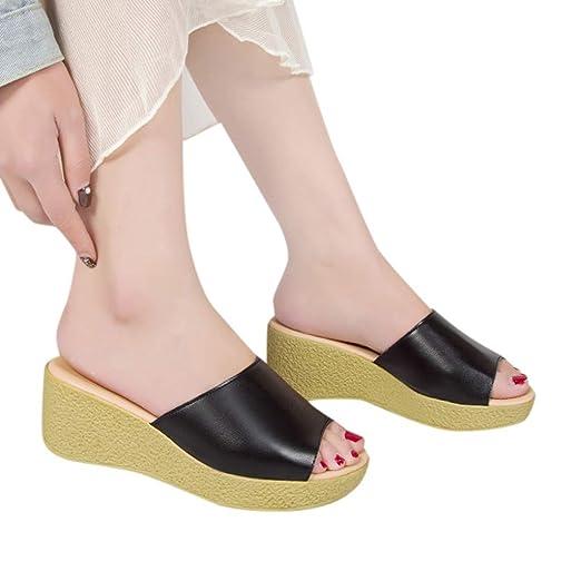 ad0d00078efe2f Amazon.com  Creazrise Womens Wedges Sandals Slipper Ladies Peep-Toe  Platform Flip Flop  Clothing