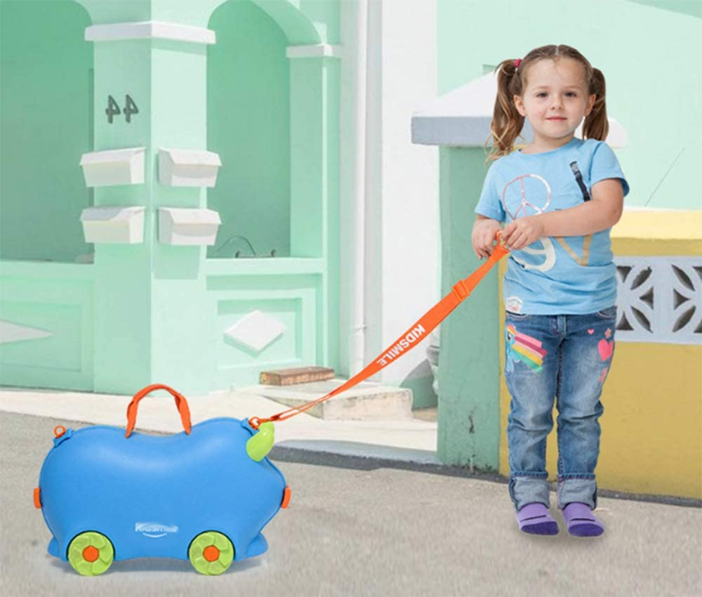 Cartoon Shape Kids Riding Bicycle Trolley Wheel Children Carrying Rotating Rolling Luggage Travel Bag Suitcase