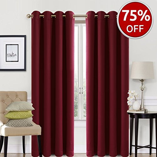 Blackout Curtains 2 Panels Set Room Darkening Drapes Thermal Insulated Solid Grommets Window Treatment Pair for Bedroom, Nursery, Living Room,W52xL84 inch,Burgandy (Curtains Room Living Window)
