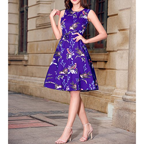 Honghu Elegante Vintage Vestido Sin Mangas de la Vendimia para Mujer De Impresión por la rodilla Vestido Morado