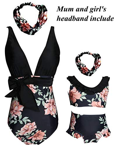 Matching Swimsuit Flowers Print One Piece Bikini Set Backless Swimwear Size XXL