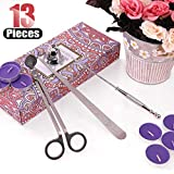 Hilitchi 4 in 1 Candle Snuffer Accessory Gift Pack with Candle Wick Trimmer, Candle Wick Dipper, Candle Snuffer and One Bonus Pack of Candle-Silver