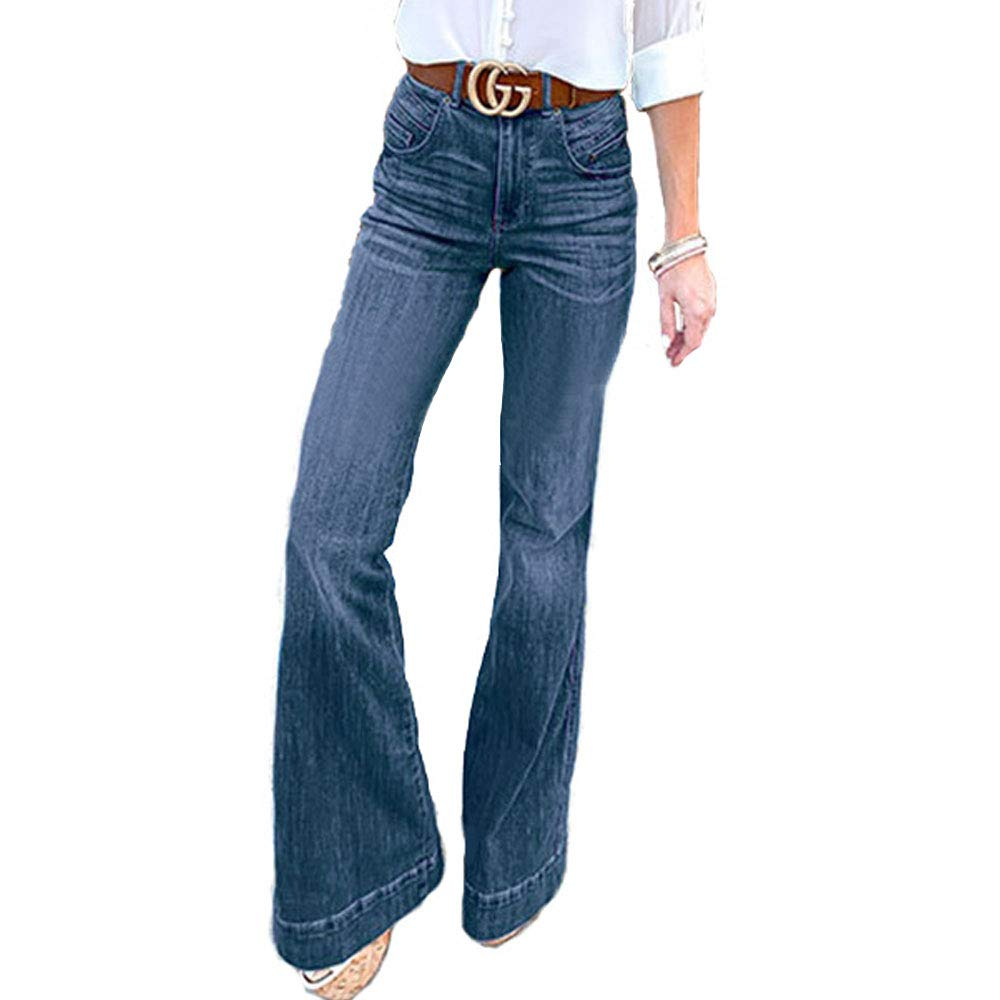 Vintage High Waisted Trousers, Sailor Pants, Jeans EVEDESIGN Womens Retro Style Bell Bottom Jeans Mid-Rise Slim Fit Long Bootcut Denim Pants $31.97 AT vintagedancer.com
