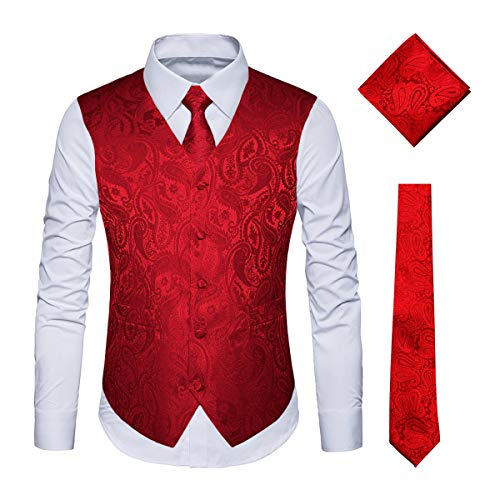 (WULFUL Men's 3pc Paisley Vest Necktie Pocket Square Set for Suit or Tuxedo Red)