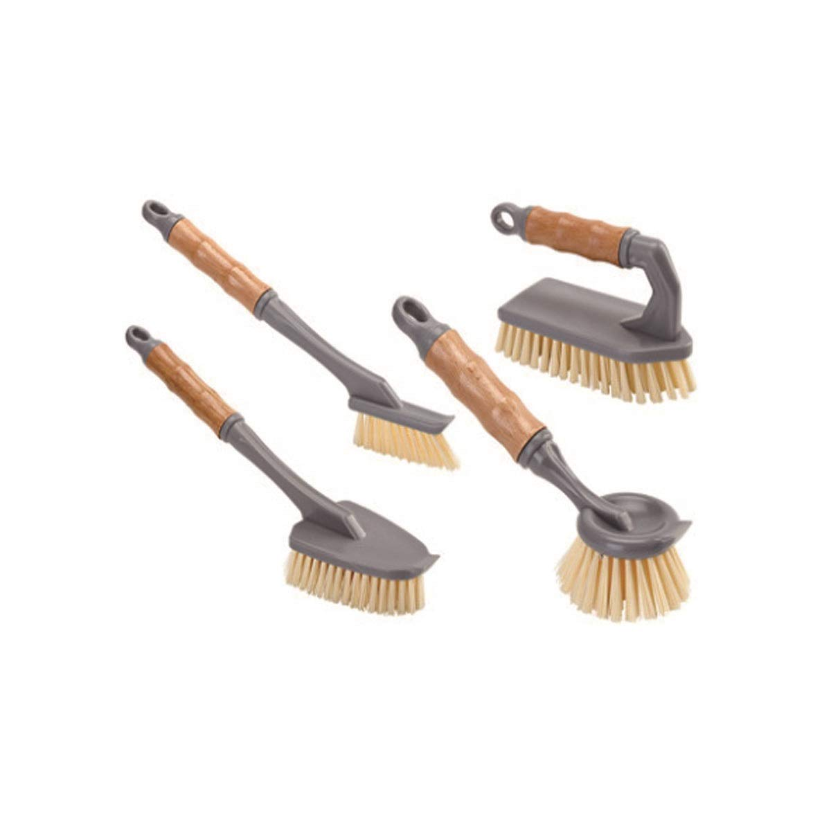 HENGTONGTONGXUN Brush Pot Artifact, Kitchen Supplies, Long Handle to Stain Cleaning Tool, Four-Piece Rugged Scrubber for Quick and Easy Washing (Color : Gray) by HENGTONGTONGXUN