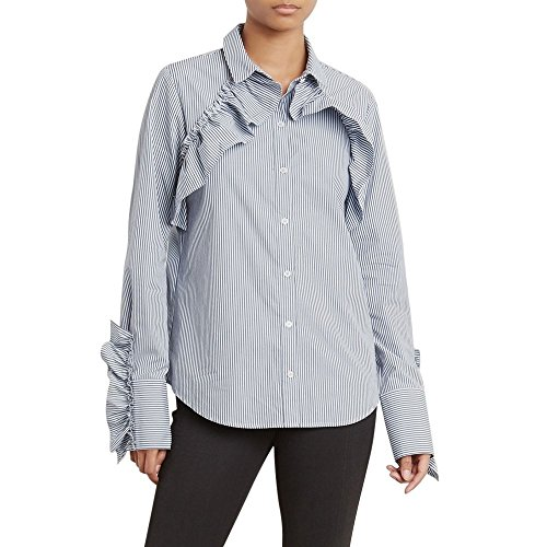 Kenneth Cole Women's Ruffle Detail Poplin Shirt, Evening Stripe, M