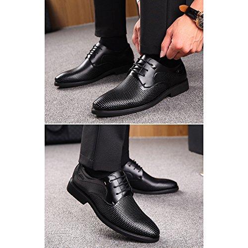 En Chaussures Air Sandales D'affaires Hommes Black Robe Cuir Décontracté En Plein Respirant Chaussures Marcher Hommes Travail Creux Été FOqvHgxx