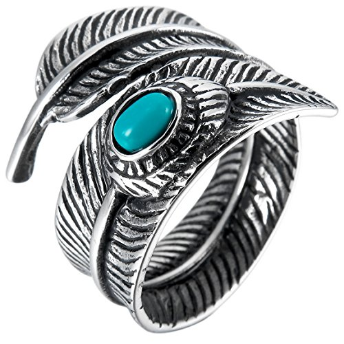 INBLUE Mens Stainless Steel Ring Simulated Turquoise Silver Tone Black Feather