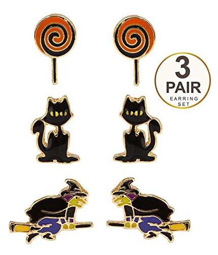 Halloween Theme 3 Pair Earring Set (Cat And (Spirit Halloween Cat Ears)