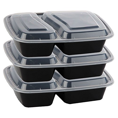 Bulk Wholesale Supplies Fitness Meal Prep 2-Compartment Reusable Stackable Microwavable Food Bento...
