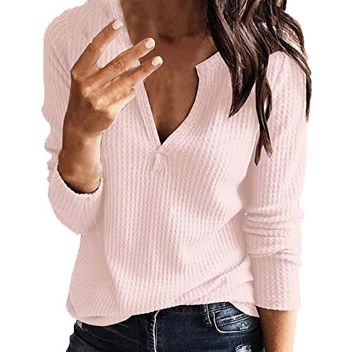 Londony  Womens Blouse Long Sleeve Deep V-Neck Loose Fit Knitted Tunic Tops Basic Sexy T Shirt