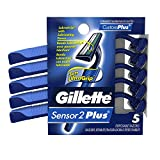 Gillette CustomPlus Fixed Disposable Razors, 5 Count- Packaging May Vary