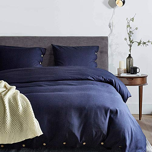 Fluffy Cat 3 Piece Duvet Cover Set(1 Duvet Cover + 2 Pillowcases),100% Washed Microfiber Duvet Cover Set,Exquisite Button Closure,Ultra Soft and Easy Care Simple Style Bedding Set(Blue, King)