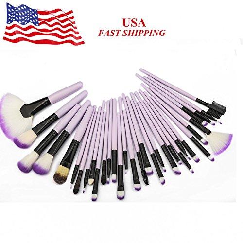 Vander Life 32pcs Makeup Brush Set Purple Professional Synthetic Kabuki Foundation Powder Brushes (32 Set Beauty Piece Makeup)