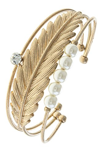 THE JEWEL RACK FEATHER FAUX PEARL CUFF BRACELET SET (GOLD)
