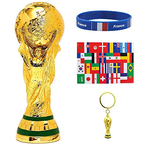 2018 FIFA World Cup - World Cup Trophy Replica(14Inch) & Trophy Keychain & Face Stickers Label & Silicone Bracelets