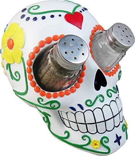 DWK - Sugar N Spice - Day of The Dead Hand-Painted Sugar Skull Figurine Salt & Pepper Shaker Holder Dia de Los Muertos Home D