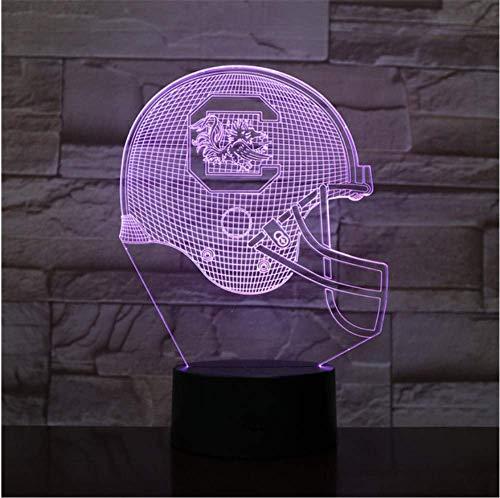 (KUKULE 3D Led Night Light USB South Carolina Football Helmet Children Kids Gift Color Changing Table Lamp Bedroom)