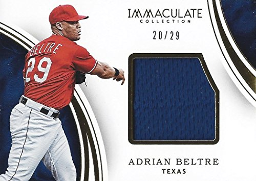 ADRIAN BELTRE 2016 Panini Immaculate Collection Baseball GAME-USED JERSEY PATCH (Texas Rangers) Insert Relic MLB Insert Collectible Baseball Trading Card #20/29