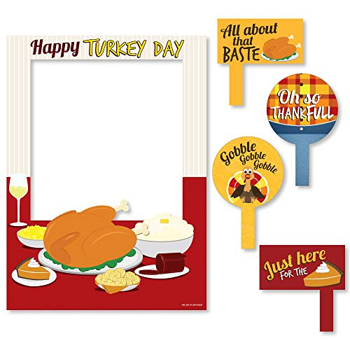 Big Dot of Happiness Thanksgiving Turkey - Fall Harvest & Thanksgiving Party Selfie Photo Booth Picture Frame & Props - Printed on Sturdy Material (Turkey Picture Frame)