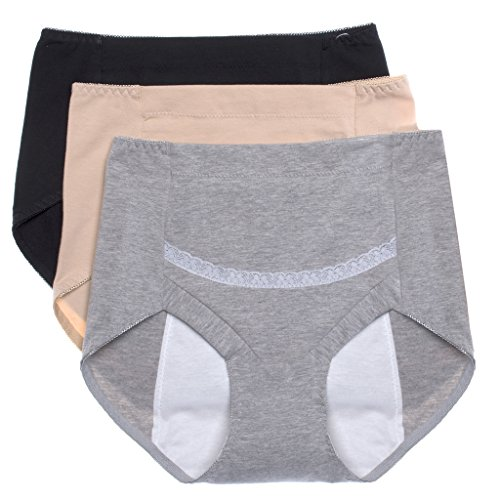 Intimate Portal Women Secret Agent Leak Proof Protective Brief Period Incontinence 3-Pk Black Beige Gray XS
