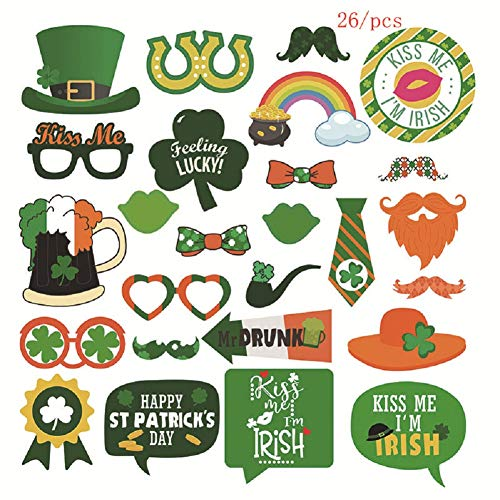 Irish Party Photo Booth Props, DIY Carboard Photo Booth Props Kit with Hat Lip Beer Mustache Bowtie Shamrock Clover Props 26Pcs for St Paticks Day Outfit Oktoberfest Fancy Dress Holiday Party Favors ()