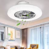 DLLT LED Remote Ceiling Fan with Light Kit-40W Modern Dimmable Ceiling Fan Lighting, 7 Invisible Blades Ceiling Fans, 23 Inch