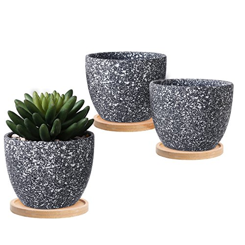 4 Inch Planter - 4-Inch Dark Gray Speckled Glaze Succulent Planter Flower Pot w/ Bamboo Saucers, Set of 3