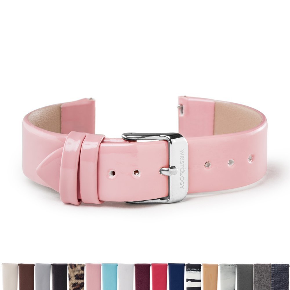 Wristologyシルバー18 mm Womens Easy Interchangeable Watch Band ピンク ピンクパテント ピンクパテント B0777S24RR