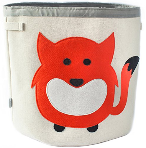 (Grey Bee Animal Theme Collapsible Canvas Storage Bin for Kids, Red - Fox)