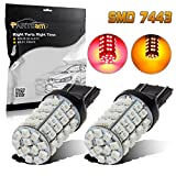 7440 led bulb blue - Partsam 2PCS 7443 60-3528-SMD Red Amber Switchback Led Off Road High Power Front Turn Signal Light Bulbs 7440 7444NA 7505 for 2006-2011 TOYOTA Yaris