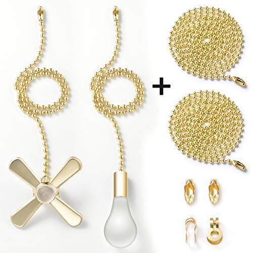 (Pull Chain with 35.4 inches Extension, Kinghouse 2 pcs 13.6 inches 3.2mm Beaded Ball Fan Pull Chain Set including Beaded and Pull Loop Connectors, ELegant Holiday Gift Set (Bronze))