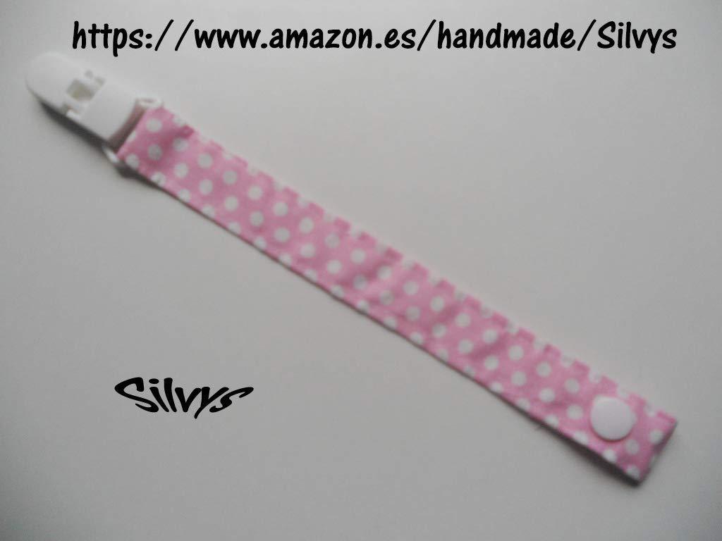 Chupetero de tela con clip Silvys, de color rosa con lunares ...