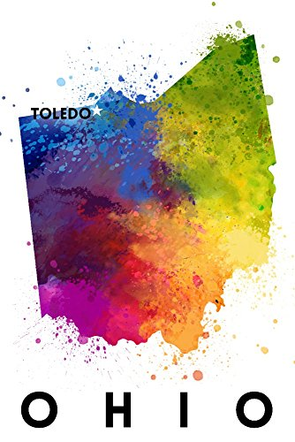 Toledo, Ohio - State Abstract Watercolor Art Print, Wall Decor Travel Poster