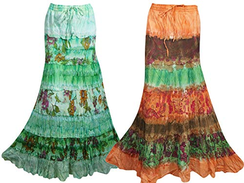 Mogul Interior 2pc Womens Tie Dye Maxi Skirt Lightweight Cotton A-Line Gypsy Chic Skirt M/L Orange,Green