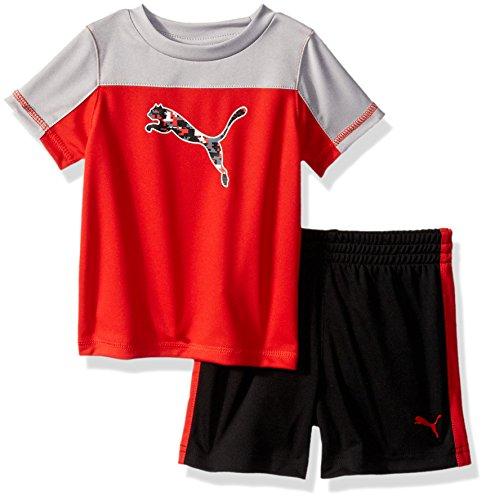 PUMA Baby Boys' 2 Piece Tee & Short Set, Flame Scarlet, 3-6 Months ()