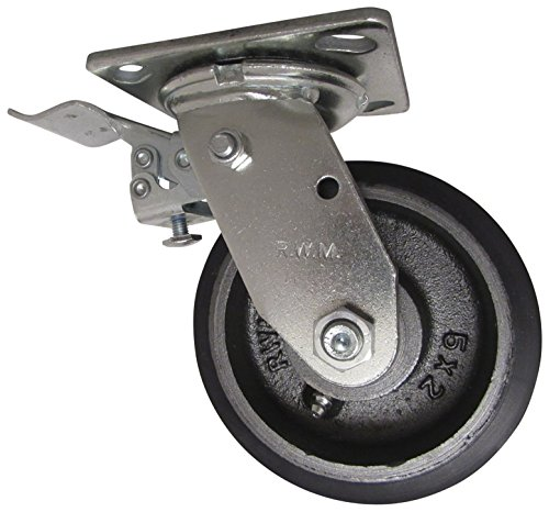 RWM Casters 46 Series Plate Caster, Swivel with Face Contact Steel Total Lock Brake & Lock, Urethane on Iron Wheel, Roller Bearing, 1050 lbs Capacity, 5