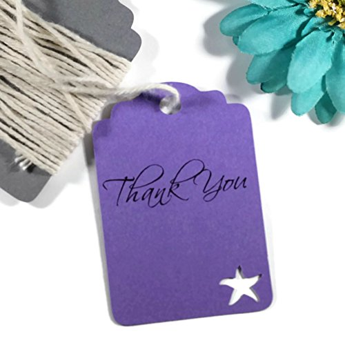 Starfish Tag - Purple Starfish Tags - Under the Sea Royal Purple Thank You Labels (Set of 20)